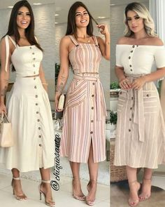 Faldas Viviana - super cute button up two pieces Image may contain: 3 people, people standing Image may contain 1 person standing and stripes – Artofit Cute Dresses, Beautiful Dresses, Casual Dresses, Fashion Dresses, Summer Dresses, Summer Outfit, Prom Dresses, Mode Outfits, Skirt Outfits
