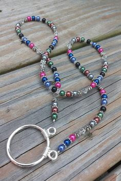 Keep your glasses right there with you so you can easily just reach for them and put them on. Easy and beautiful. Diy Necklace Holder, Lanyard Necklace, Ring Necklace, Beaded Jewelry, Handmade Jewelry, Beaded Bracelets, Necklaces, Do It Yourself Jewelry, Beaded Lanyards