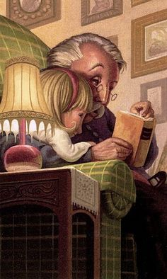Grandpa, Illustration - reading fairytales perhaps? I Love Books, Good Books, Books To Read, My Books, Reading Art, I Love Reading, World Of Books, Lectures, Book Lovers