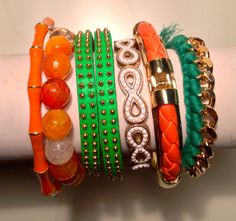 University of Miami HURRICANES Arm candy bracelet set by JAJewlz, $50.00