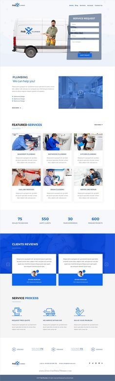 Fab is clean and modern design PSD template for #plumber and #handyman services website with 5 homepage layouts and 30 layered PSD pages to live preview & download click on Visit