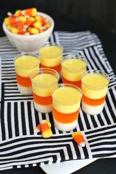 Corn Jello Shots Candy Corn Jello Shooters for your bash! (Please candy corn responsibly)Candy Corn Jello Shooters for your bash! (Please candy corn responsibly) Cheap Halloween, Halloween Goodies, Halloween Food For Party, Halloween Treats, Halloween Drinking Games, Halloween House, Halloween Halloween, Halloween Costumes, Halloween Cocktails