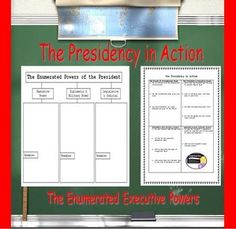 The Presidency in Action: Enumerated Executive Powers (Civics) PowerPoint Presentation Teaching Social Studies, Teaching History, Student Teaching, Teacher Stuff, Teacher Pay Teachers, Government Lessons, Intermediate Grades, High School Activities, World History Lessons