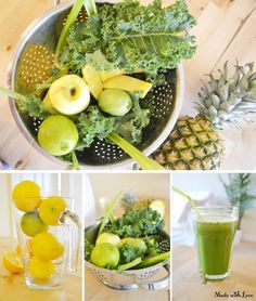PINEAPPLE DETOX JUICE! 3 stalks kale 2 stalks celery ½ lemon or lime 1 apple Slice of pineapple Just juice and enjoy! Green juices and smoothies are the best start in the morning and an easy way to get a truckload of vitamins, minerals and enzymes into your body very quickly. Let your skin glow from the inside with a glass of Green goodness!