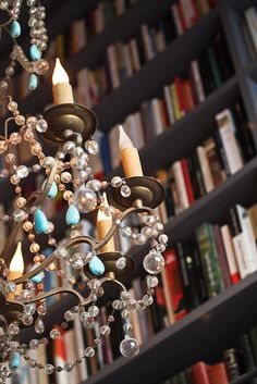 Merci Used Book Café, chandelier Merci Shop Paris, Paris Cafe, Book Cafe, I Love Books, Used Books, Bar A Vin, Chandelier Lamp, Chandeliers, Library Bookshelves