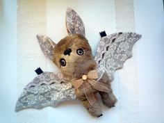Mr Bat Henry Forrester, soft art  toy creature by  Wassupbrothers.