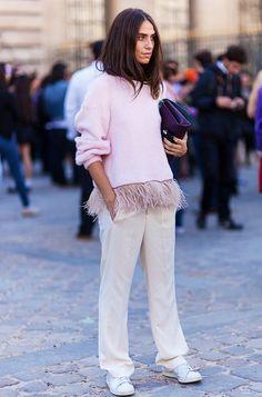 Pink feather trim sweatshirt, khaki slacks + white sneakers