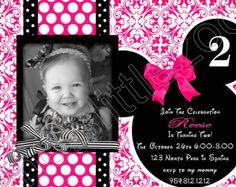 Hot Pink and Black Damask Polka Dots Minnie Mouse Digital Birthday Photo Invitations