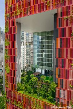 The Oasia Hotel in downtown Singapore was designed as a giant sky garden, with creeping vines on its facade and green spaces within it. Hotel Architecture, Sustainable Architecture, Sustainable Design, Amazing Architecture, Architecture Design, Sustainable Energy, Facade Design, Exterior Design, Hotel Centro