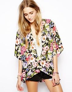 Band of Gypsies Kimono Jacket in Bright Floral Print