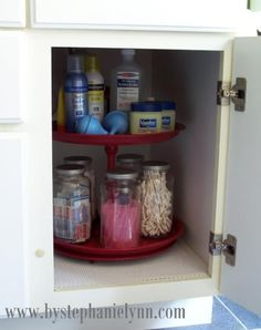 Genius..what to do with the giant space it he cabinet when everything inside it is tiny.