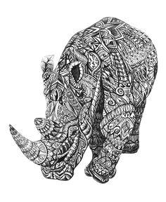 Rhinoceros-Aztec-handdrawing-Detail-Pattern #graphic #art #hand drawing