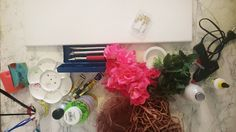 Tintenfaden: How to: Leinwand mit Kunstblumen