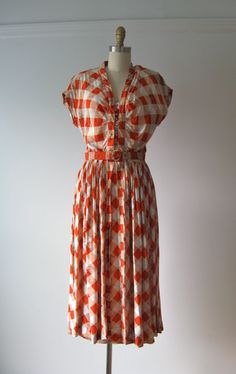 vintage 1940s dress / 40s dress / Autumnal Picnic by Dronning, $185.00