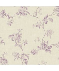 Wallpaper-Designer-French-Lavender-Rose-Floral-Vine-Toile-on-Beige-Faux-Linen