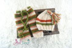 Knit Newborn Pants and Tassel Cap Set; Newborn Photo Prop Pant Set, Handknit Baby Boy Photo Prop, Organic Photo prop, Photography Prop