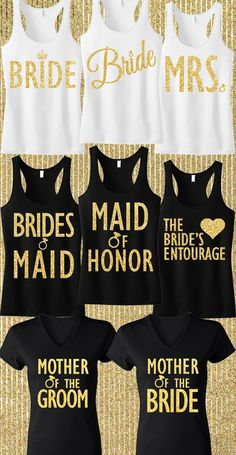 Gold Glitter #Wedding tanks. Cute for the Bachelorette Party and getting ready. Found at http://mrsbridalshop.com/