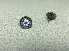 Wild Pink Flower Glass Stud Earrings with by StarBoundWestern Brass Fittings, Teal, Purple, Earrings Handmade, Pink Flowers, Gemstone Rings, My Etsy Shop, Stud Earrings, Unique Jewelry