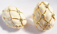 Two Tone Clip Silver Gold Tone Earrings Rhinestones Clip On Jewelry Modernist 1980s Designer Vintage Costume Jewelry Christmas Gift Ideas
