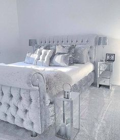 Grey Sleigh Bed In Velvet With Silver Satin Sheets U0026 Pillows W/mirrored  Furnu2026
