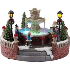 holiday time christmas village 5 battery operated holiday fountain walmartcom - Holiday Time Christmas Decorations