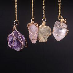 Novo Clássico Handmade Entrelaçamento Irregular Pedra Natural Pingente de Ametista Quartzo Rosa Colar De Cristal Para As Mulheres