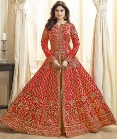 Get Shamita Shetty Red Color Silk Designer Anarkali Suit latest designer party wear salwar suits, wedding wear anarkali dress for women at VJV Fashions. Long Choli Lehenga, Anarkali Lehenga, Bollywood Lehenga, Silk Lehenga, Bridal Lehenga, Bollywood Suits, Bollywood Fashion, Heavy Lehenga, Bollywood Theme