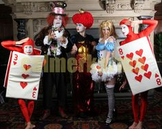 Alice in Wonderland team entertaining a well known hair group - Red Cards, Mad Hatter, Red Queen and Alice