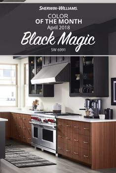 Pick up that paint brush and add some dark and daring drama with the April Color of the Month, Black Magic SW 6991. This shade of black is sure to cast a spell on whoever walks through your door. Think beyond white cabinets to add instant wow factor. Or use it as an accent in the living room, bathroom or even a master bedroom ceiling for instant mystery and mysticism.