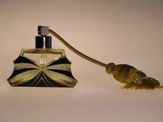 Bohemian Czech Art Deco Glass Perfume Bottle by Karel Palda