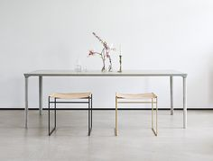 Concrete Table is a minimalist design created by Austria-based designer Nina Mair. Deeply rooted in architecture – based on experience gained from reinforced concrete structures – this unusual table is a reflection of the engagement with self-supporting structures. (1)