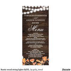 Rustic wood string lights fall floral wedding menu