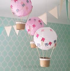 Whimsical Hot Air Balloon decoration DIY Kit - nursery decor - travel theme nursery - set of 3 by mamamaonline on Etsy https://www.etsy.com/listing/219656312/whimsical-hot-air-balloon-decoration-diy