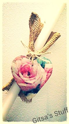 Handmade.. Easter Candle.. Heart With Decoupage.. Rope..