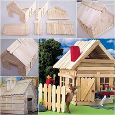 How to DIY Popsicle Stick House #craft #decor #popsicle_stick