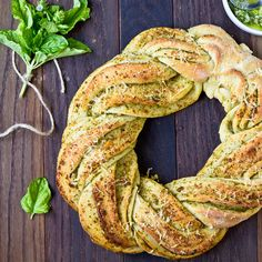Nothing better than homemade bread and pesto. And super quick and easy if you used purchased bread dough and/or pesto. Bread Recipes, Baking Recipes, Basil Bread Recipe, Braided Bread, Pull Apart Bread, Bread Rolls, How To Make Bread, Bread Baking, Mozzarella