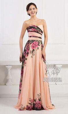 uzun abiye elbise strapless çiçek desenli şifon abiye elbise,abiye elbise,kısa abiyeler,uzun abiye,online abiye,ucuz