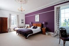 purple feature wall #bedroom