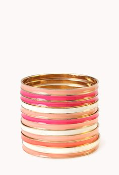 Multi-Colored Lacquered Bangle Set | FOREVER 21 - 1024245943 #F21CRUSH