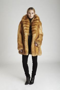 Red Fox Fur Jacket Silk Lining Made in USA Free Shipping Winter Coat Outerwear Womens Ladies Fur