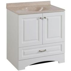 Glacier Bay, Lancaster 30 in. Vanity in White with Cast Polymers Vanity Top in Maui, LC30P2MCOM-WH at The Home Depot - Mobile