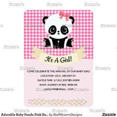 Adorable Baby Panda Pink Baby Shower Invitations