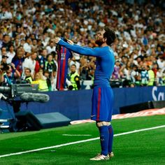 Barcelona's Argentinian forward Lionel Messi celebrates after scoring during the Spanish league Clasico football match Real Madrid CF vs FC Barcelona at the Santiago Bernabeu stadium in Madrid on April / AFP PHOTO / OSCAR DEL POZO Fc Barcelona, Real Madrid And Barcelona, Messi Funny, Clasico Real Madrid, Barca Real, Lionel Messi Wallpapers, Messi Vs, Santiago Bernabeu, Football Memes