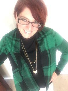 Glorious green plaid. Cardigan: @target / Turtleneck and necklaces: @kohls / Jeans: @oldnavy