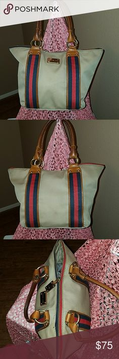 Michael Kors AUTHENTIC vintage bag Canvas and leather vintage bag, very nice for a vintage bag,has a seem shown in picture needs resewn, lining has a few spots,no wear on bag Michael Kors Bags Shoulder Bags