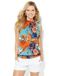 Shop Smocked Halter Bow Blouse - Print . Find your perfect size online at the best price at New York & Company.