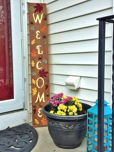Hand-painted Welcome Sign with Fall Colored Leaves Welcome Baby Signs, Wooden Welcome Signs, Porch Decorating, Decorating Your Home, Decorating Ideas, Decor Ideas, Craft Ideas, Wooden Pumpkins, Old Barn Wood