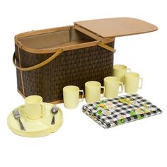 Mid Century Picnic Basket With Accessories $150