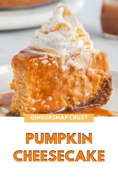 Pumpkin Cheesecake, Cheesecake Recipes, Dessert Recipes, Desserts, Ginger Snap Cookies, Ginger Snaps, Holiday Recipes, Food And Drink, Postres