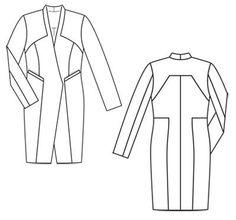 Платье-пальто - выкройка № 126 из журнала 1/2012 Burda – выкройки платьев на Burdastyle.ru
